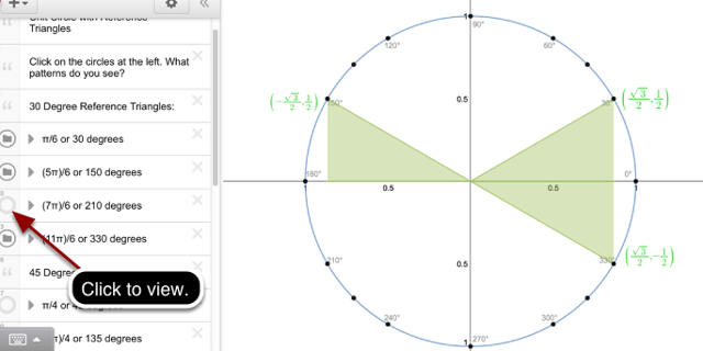 Unit Circle with Reference Triangles: Explore 30 Degree Reference triangles.