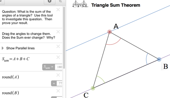 "How does ""Show Parallel Lines"" help when determining the sum of the interior angles of a triangle?"