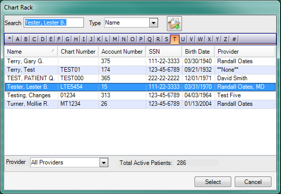 Accessing Patient Account Chart Rack from Scheduler
