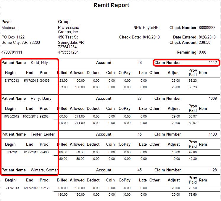 Remit Report enhancements