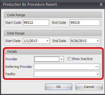 Grouping Options for Production By Procedure Report