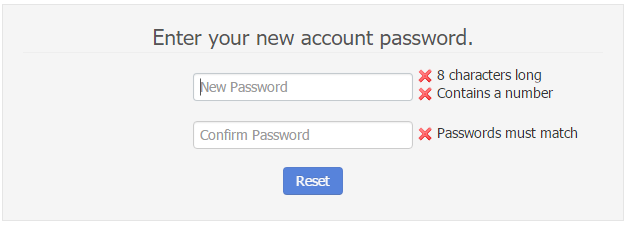 - Set New Account Password