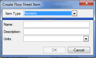 Creating a Numeric Flow Sheet Item