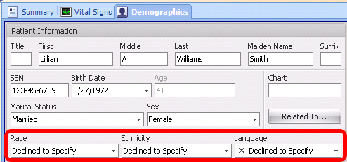 Declined to Specify Option for Race, Ethnicity and Language