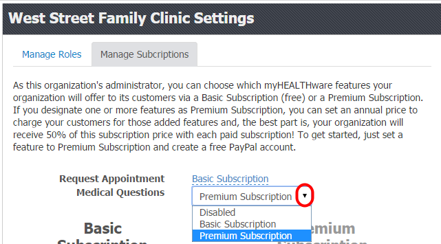 1. Designate Features as Basic Subscription or Premium Subscription