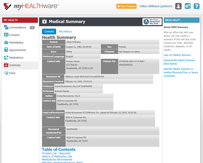 Example of a Patient's myHEALTHware Medical Summary