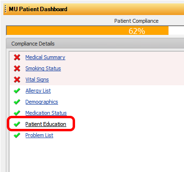 Patient Education and the MU Dashboard