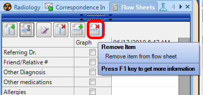 Removing a Flow Sheet Item from the Flow Sheet