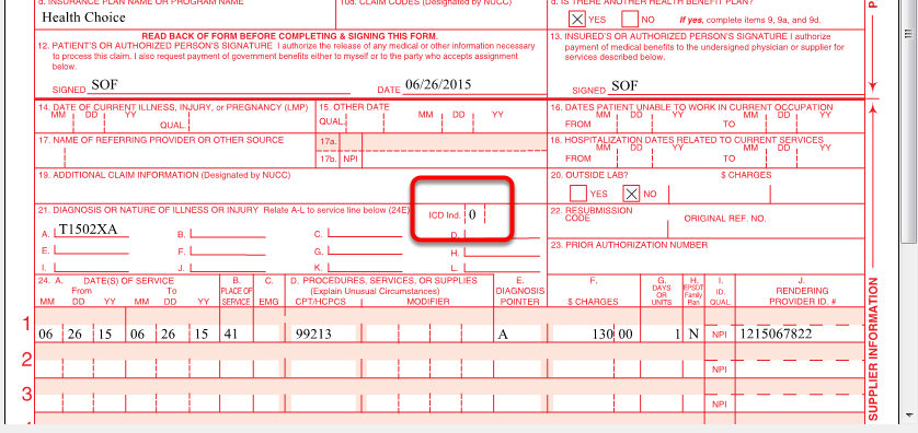 ICD 10 Type Indicator on CMS 1500 Claim and in 5010 Electronic File