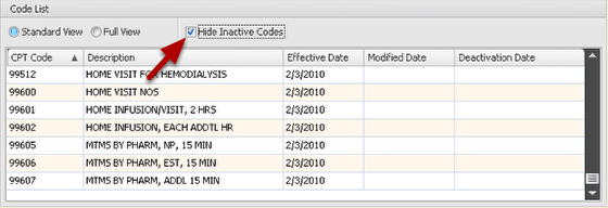 Hide/Show Inactive CPT® Codes