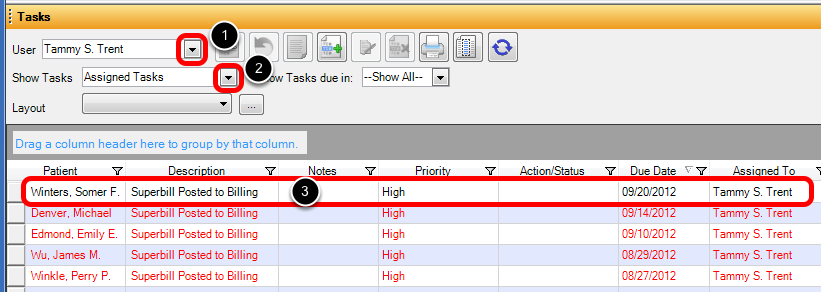 Open Patient Account in Billing using Task Manager