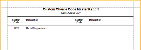 Custom Charges Master Sample