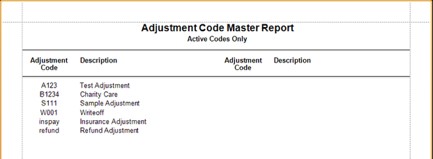 Adjustment Code Master Sample