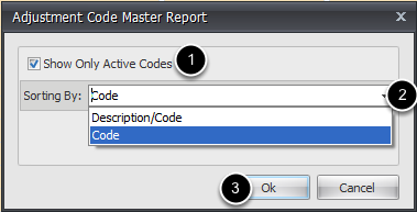 Adjustment Master Options