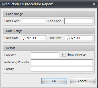 Production by Procedure Report Options