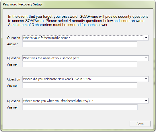 Password Recover Setup