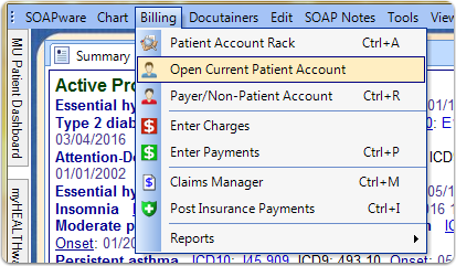 Access the Patient Account from Patient Chart