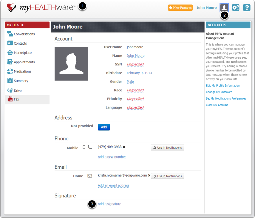 1. Import the Signature in you myHEALTHware Profile