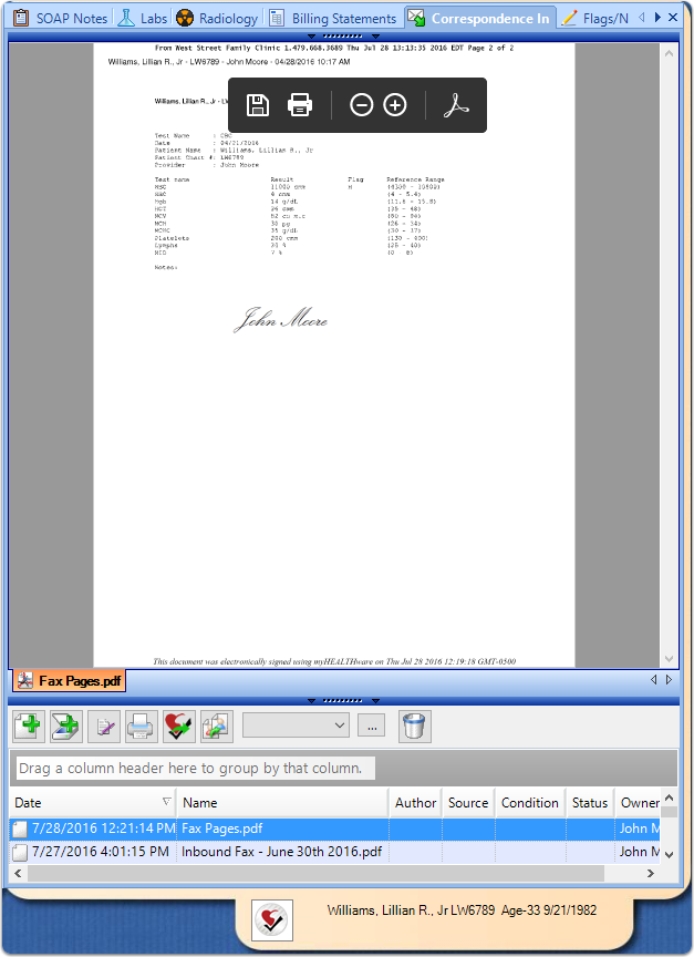 5. Edited Fax Document Saved in Patient Chart