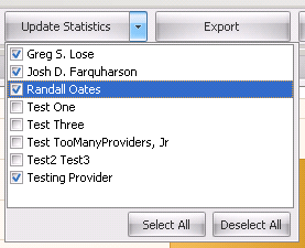 Update Statistics for Individual Providers, Multiple Selected Providers or All Providers