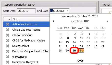 Snapshot Calendar Dates Bolded