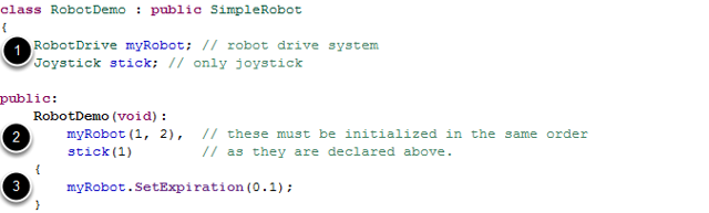 Defining the variables for our sample robot