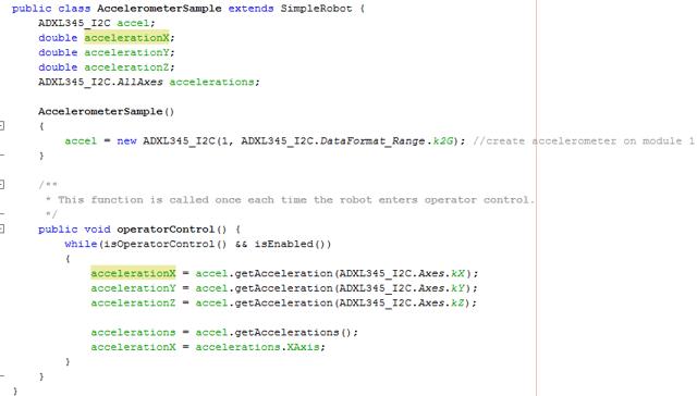ADXL345 Code Example