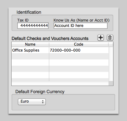 Identification, Default Checks and Voucher Accounts & Default Foreign Currency