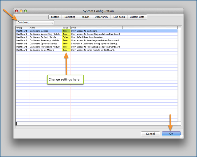System Configuration Settings.