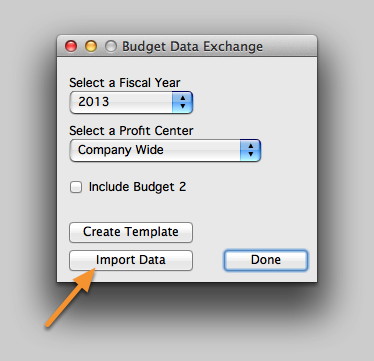Import the Budget Template