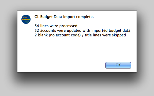 The Budget Import is complete!