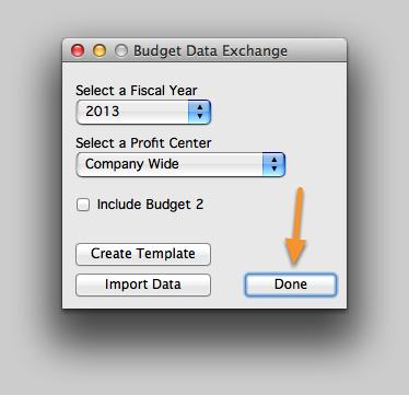 Close the Budget Data Exchange window