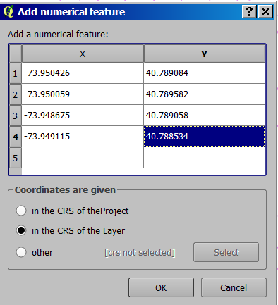 Place points layer in QGIS