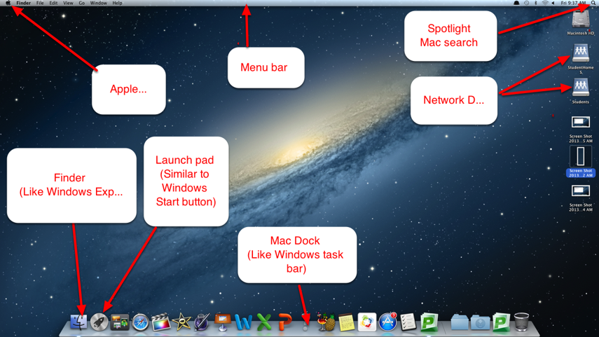 Mac screen layout
