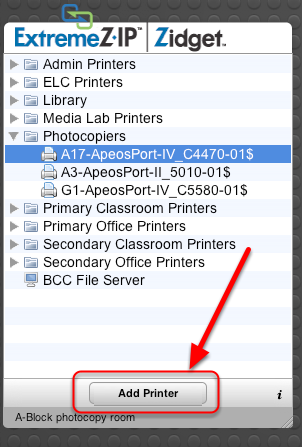 Step 2. Select the Printer and Add using ExtremeZ-IP Zidget