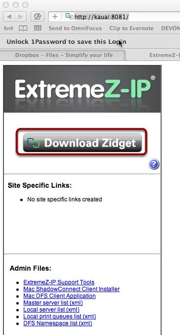Download the ExtremeZ-IP Zidget (widget) in your Browser