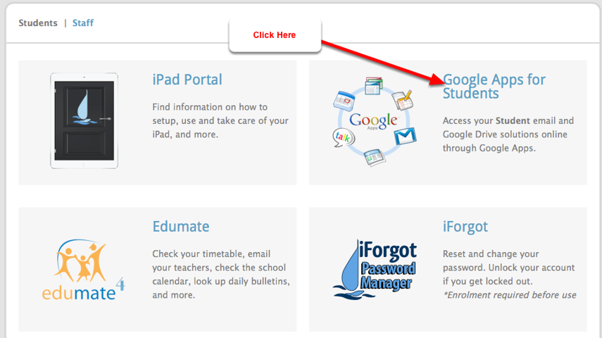Go to the Google Apps login page
