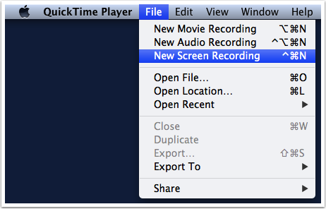 Create New Screen Recording