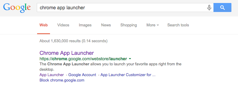 "Search for ""Chrome App Launcher"""