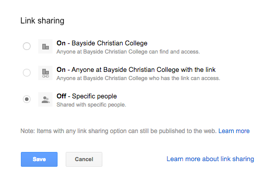 """10. Turn Link Sharing to """"Off"""""""