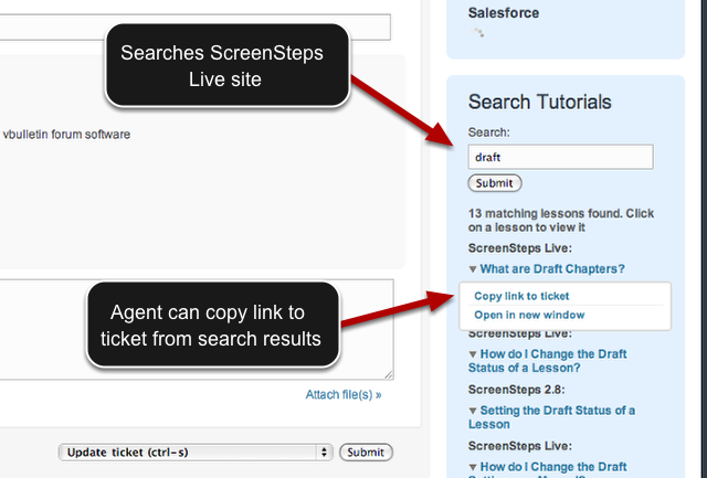 Example of Zendesk/ScreenSteps Live Integration - Agent Facing