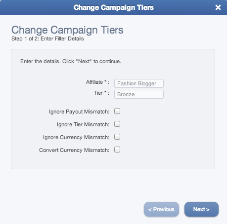 The Change Campaign Tiers wizard