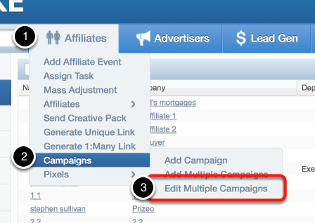 Accessing the Edit Multiple Campaigns Wizard