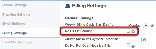 Billing Settings: Do not Bill on Pending Conversions