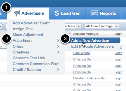 Adding Advertisers through the Advertiser Hover Menu
