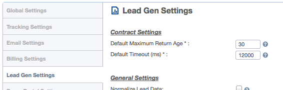 Lead Gen Settings > Contract Settings
