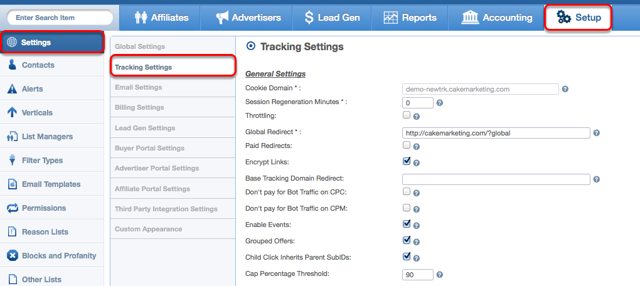Where to access Tracking Settings