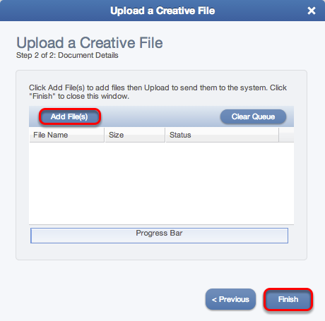 Upload a Creative File wizard