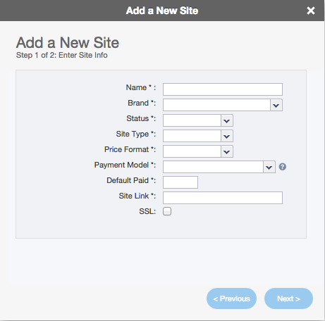 Add Site wizard