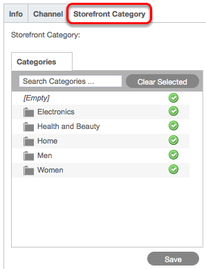 Creative card > Home tab > Storefront Category subtab